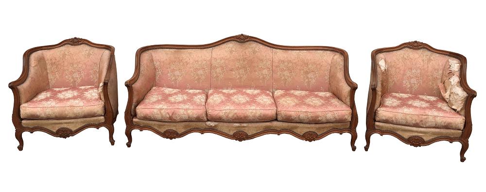 Magnifico Conjunto Sofa E Poltronas Luis Xv Antigo Lindos Entalhes