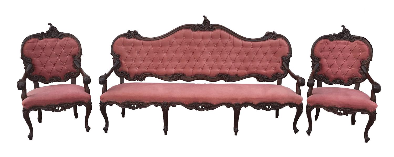 Magnifico Conjunto Sofa E Poltronas Luis Xv Capitone Belos Entalhes