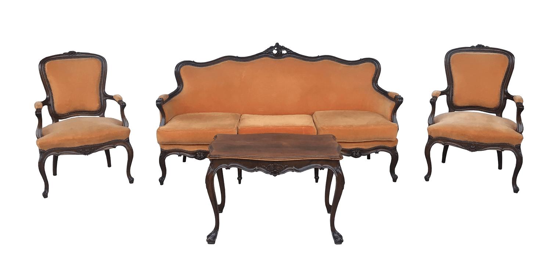 Magnifico Conjunto Sofa E Poltronas Luis Xv E Mesa De Centro Antiga