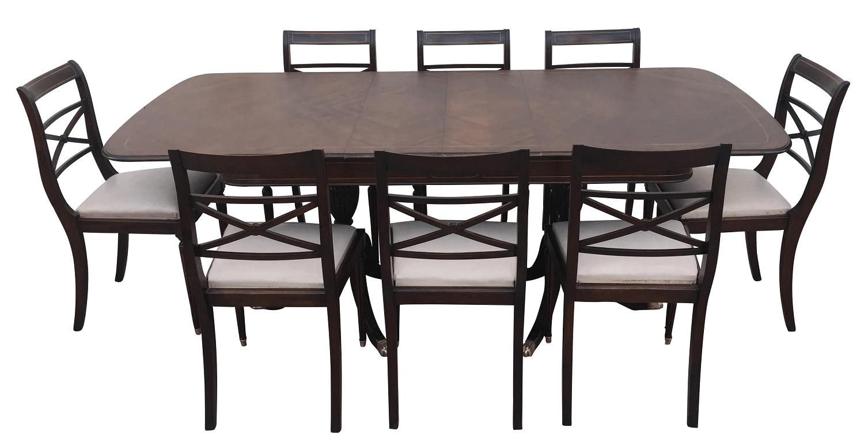 Mesa De Jantar Antiga 8 Cadeiras Ingles Pes Pata Leao Bronze