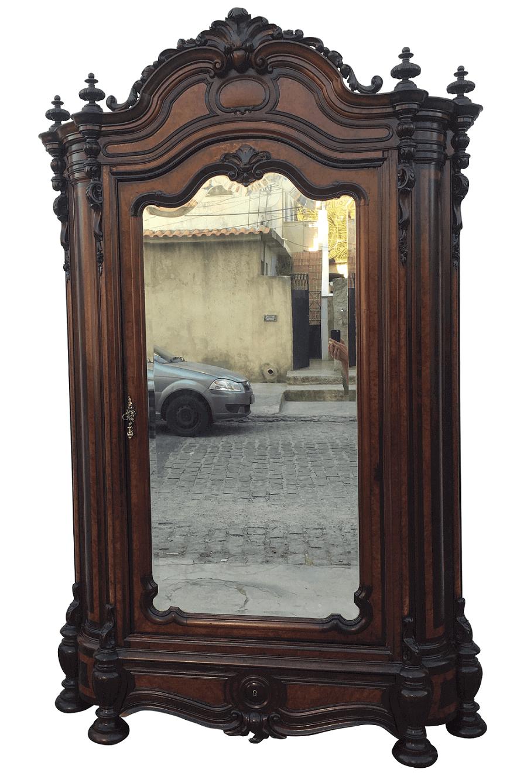 Monumental Guarda Roupa Antigo Imperio Madeira Nobre