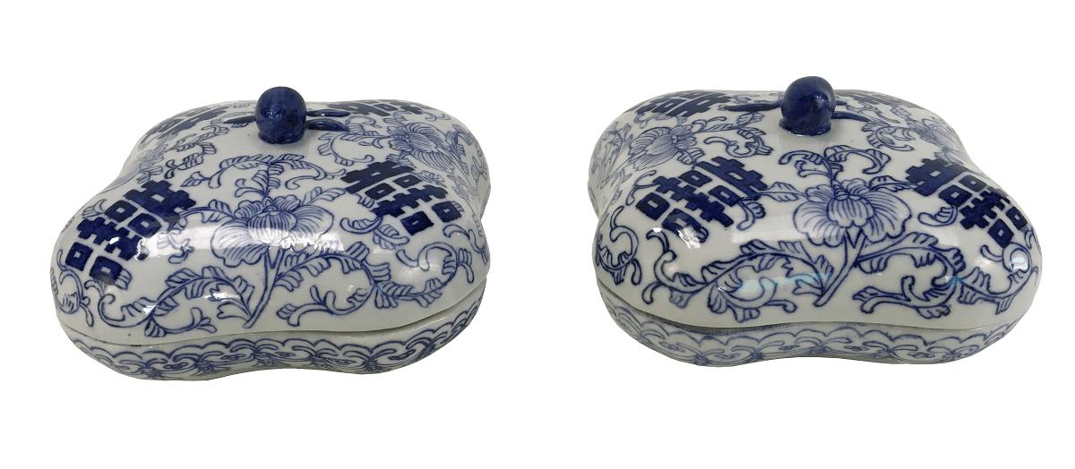 Par De Caixa Em Porcelana Chinesa Azul E Branco