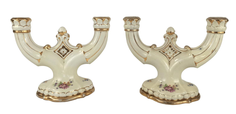 Par De Candelabros Porcelana Antiga Zappi