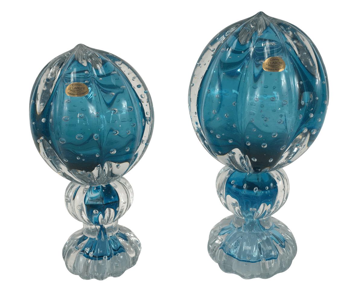 Par De Pinha Cristal Murano D' Labone Azul