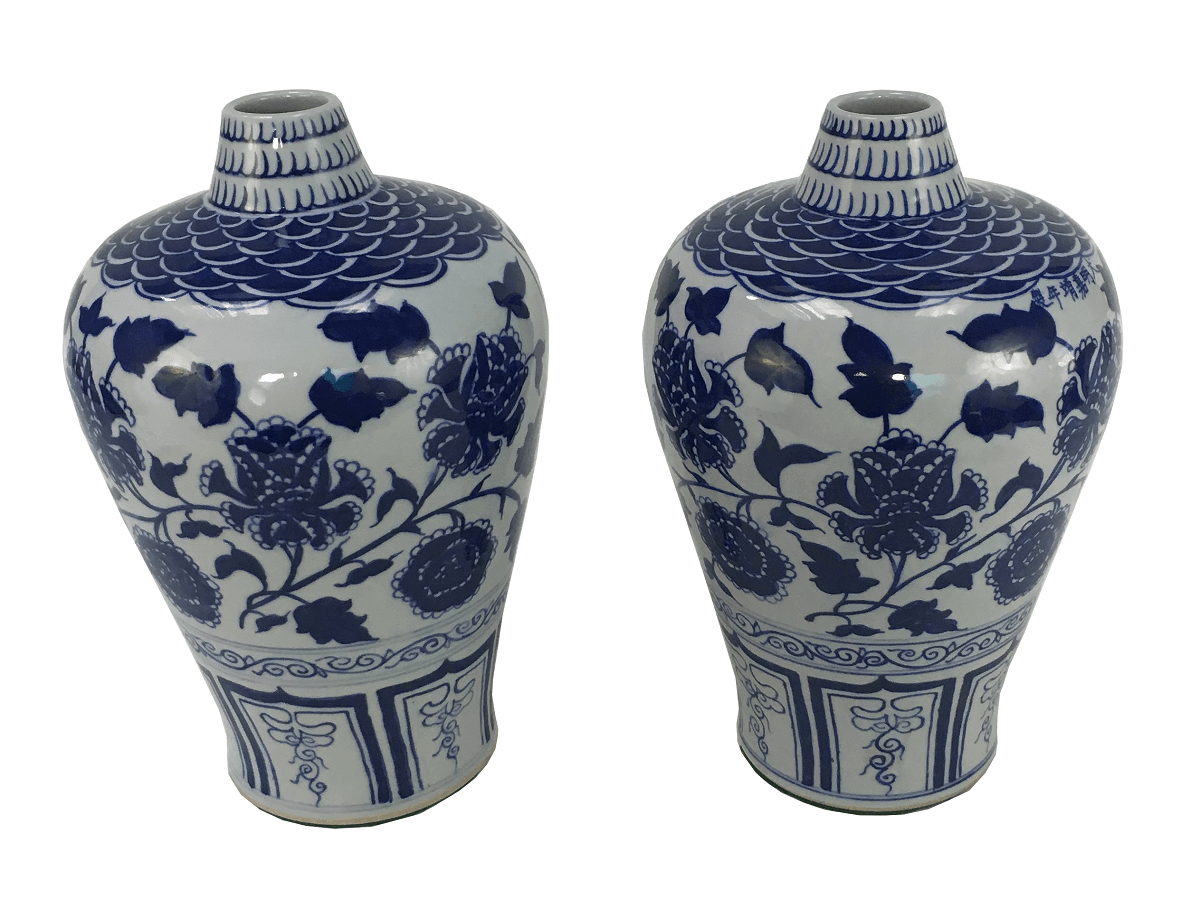 Par De Vaso Azul Bojudo Em Porcelana