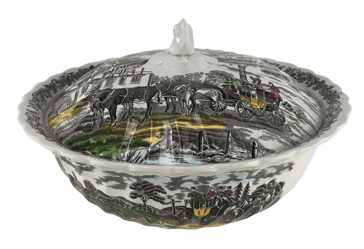 Sopeira Antiga Porcelana Inglesa Fazendinha 14cm Altura