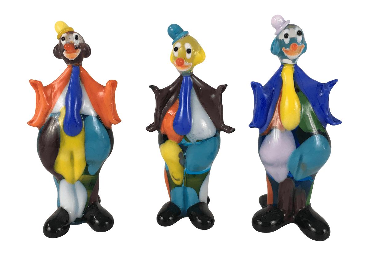 Trio De Escultura Palhaço Em Murano 9cm