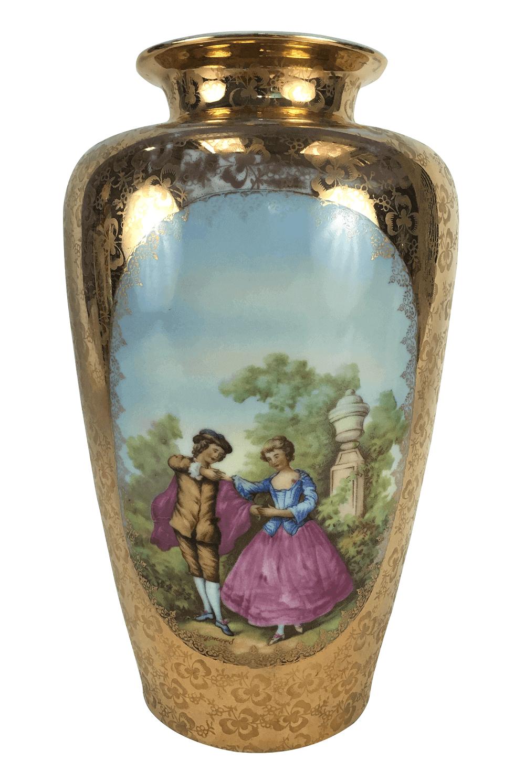 Vaso Antigo Porcelana DP Ouro Cena Galante 30cm