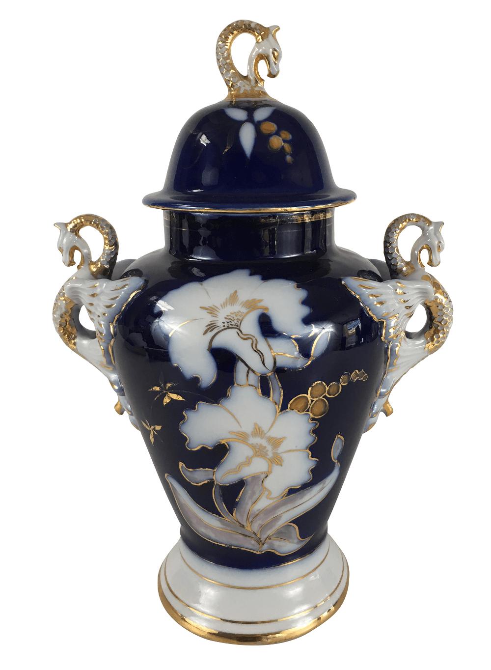 Vaso Potiche Porcelana Antiga Pedreira Azul E Branco