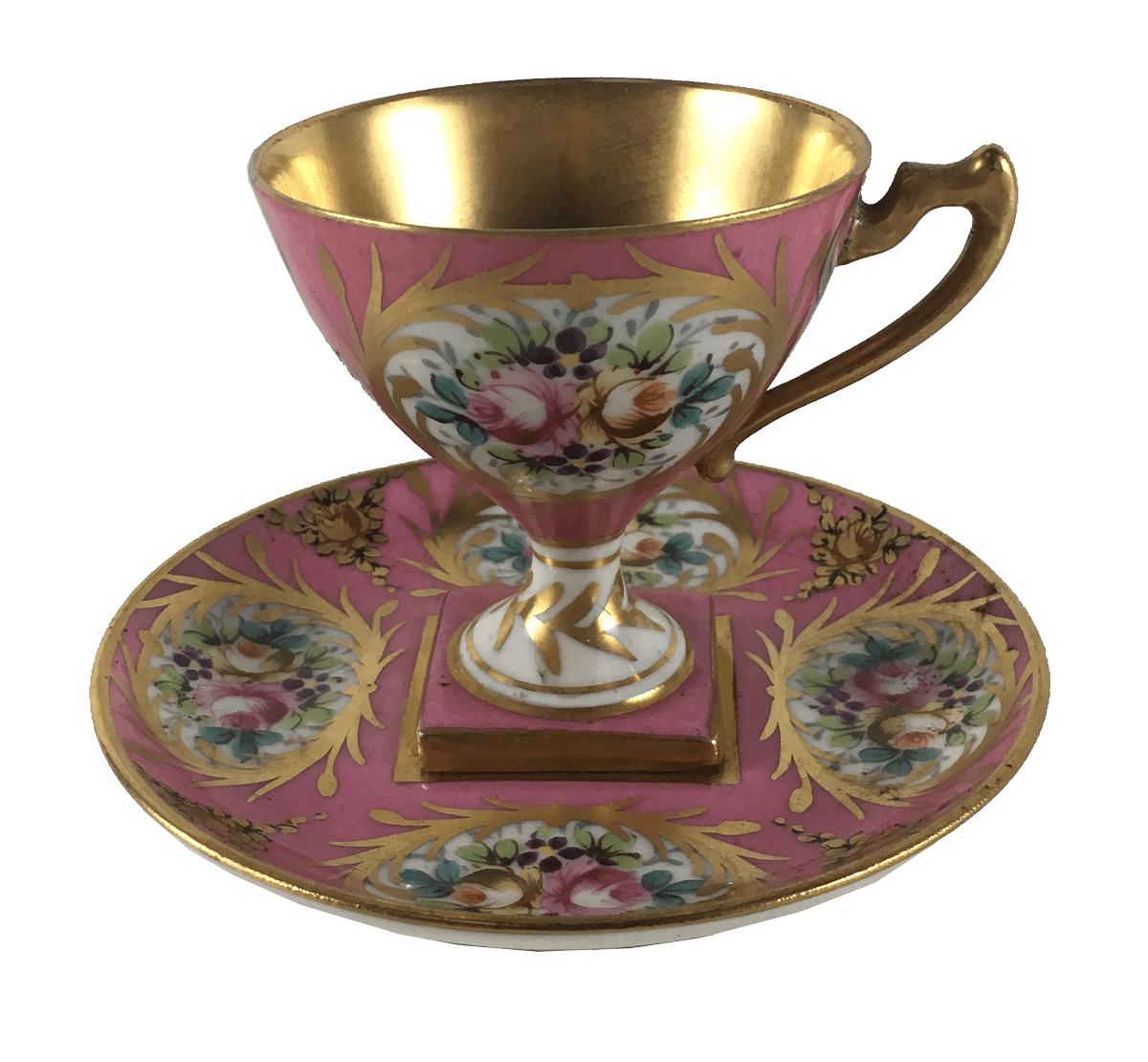 Xicara Cafe Antiga Porcelana Limoges Rosa Pintura Sevres
