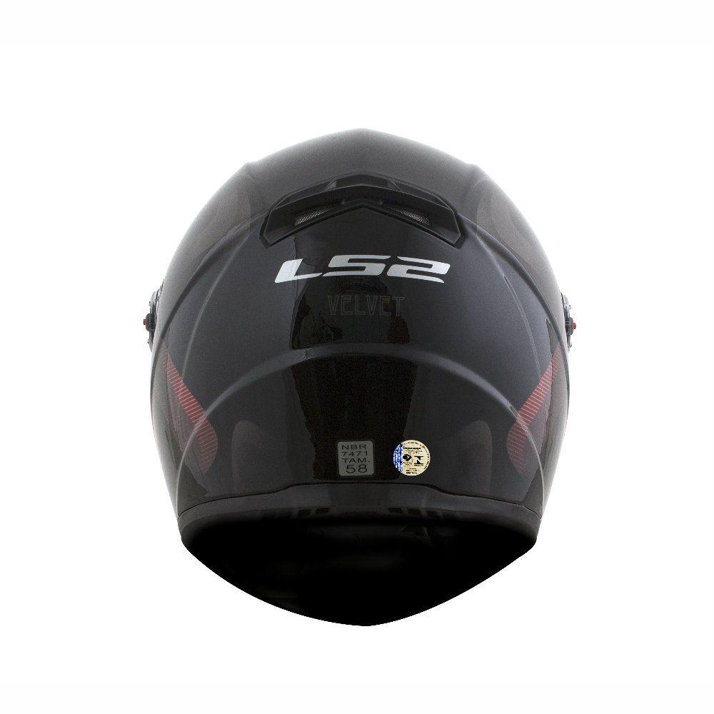 CAPACETE LS2 FF358 VELVET PRETO/VERMELHO
