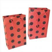 Sacola de papel  (15x24x7 cm) vermelha de bola preta - 10 unidades