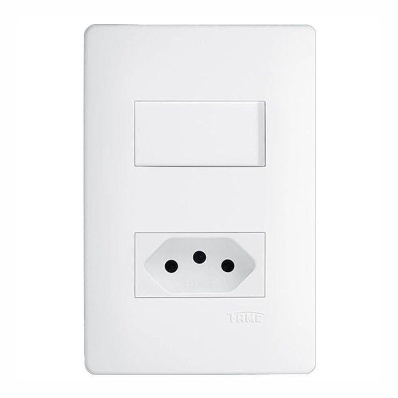 Interruptor Branco Paralelo + Tomada 10A Com Placa Liz Tramontina