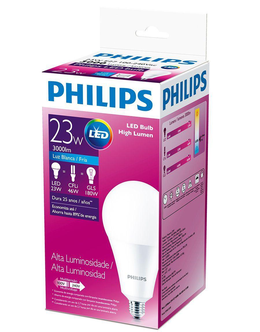 Lâmpada Led Alta Potência 23w Luz Branca Fria Philips