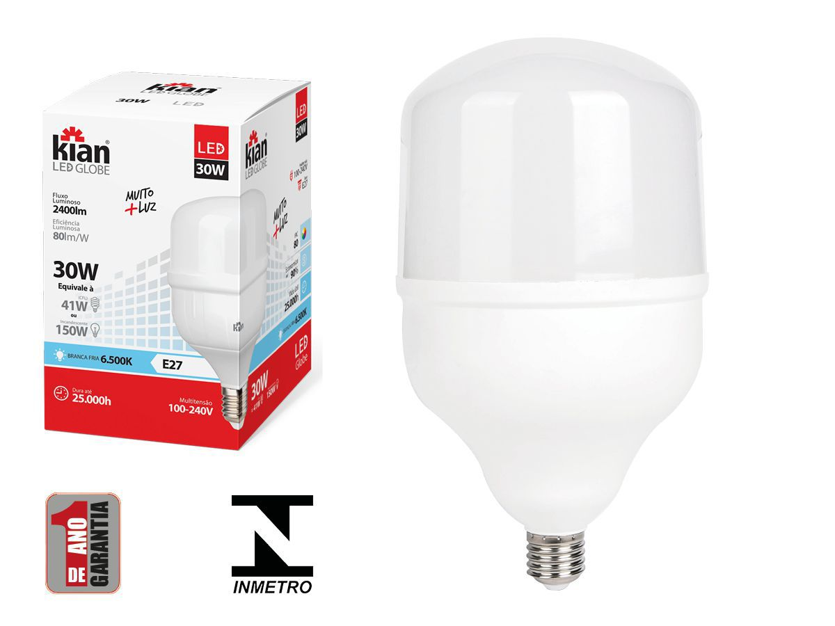 Lâmpada Led Alta Potência 30w 6500k Luz Fria E27 Bivolt Kian