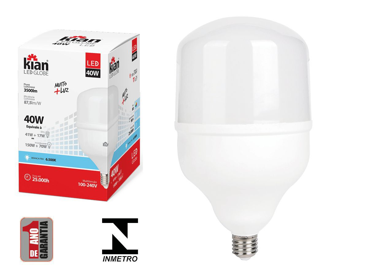Lâmpada Led Alta Potência 40W 6500k Luz Fria E27 Bivolt Kian