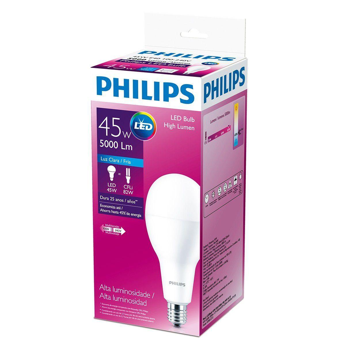 Lâmpada Led Alta Potência 45w E40 Luz Branca Fria Philips