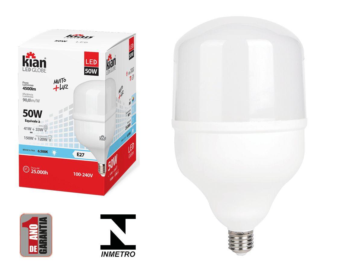 Lâmpada Led Alta Potência 50W 6500k Luz Fria E27 Bivolt Kian