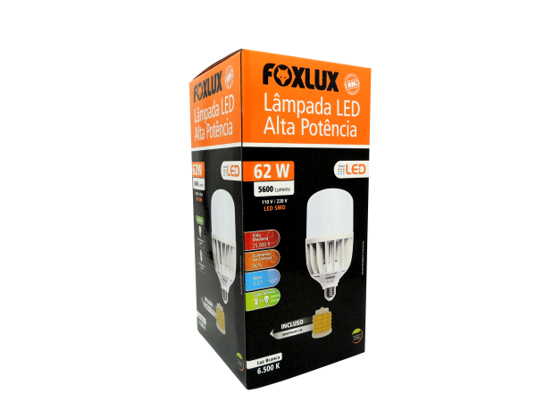 Lâmpada Led Alta Potencia 62w E27 Luz Branca Fria Foxlux