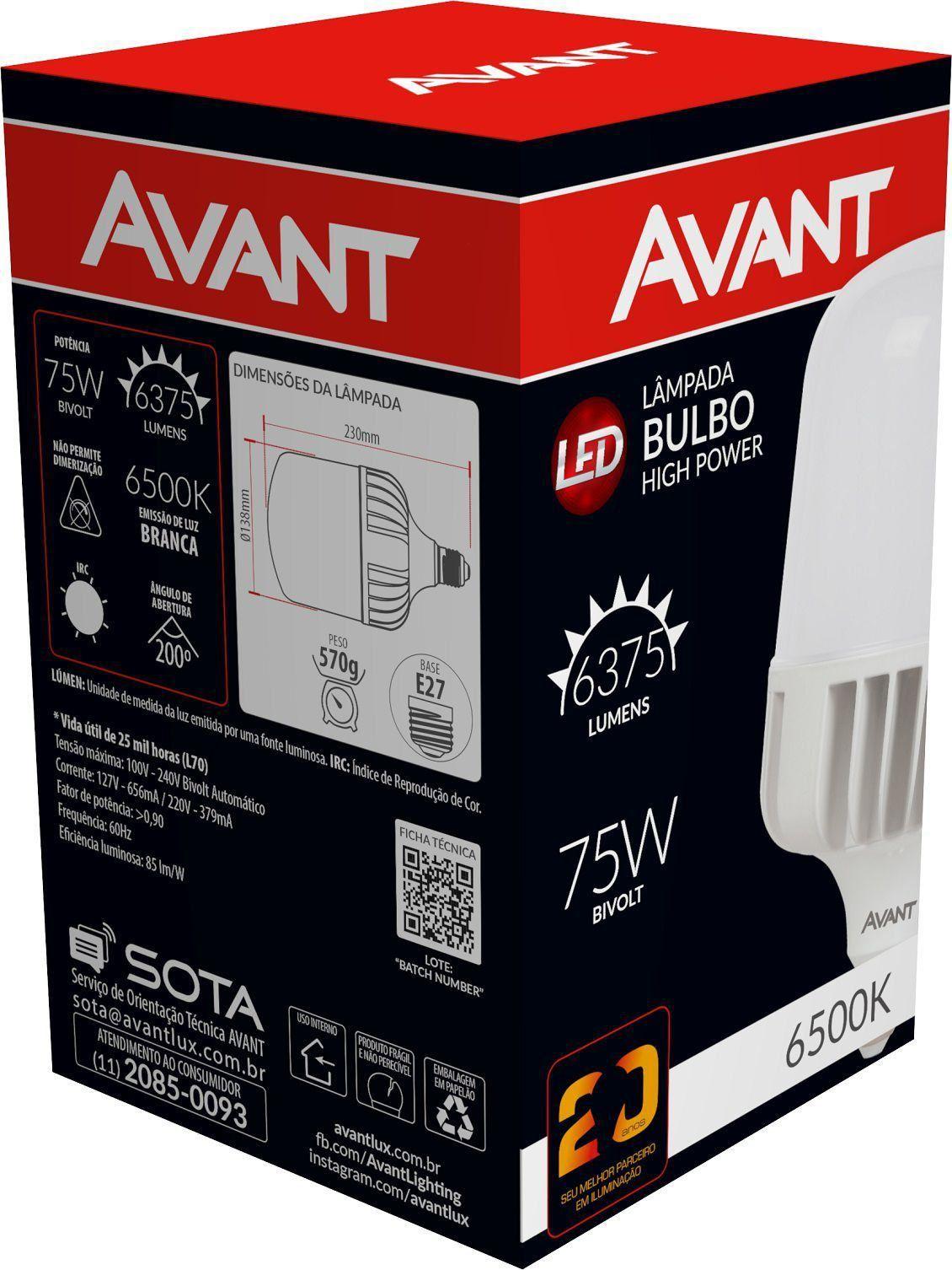 Lâmpada Led Alta Potência 75w E27 Luz Branca Fria Avant
