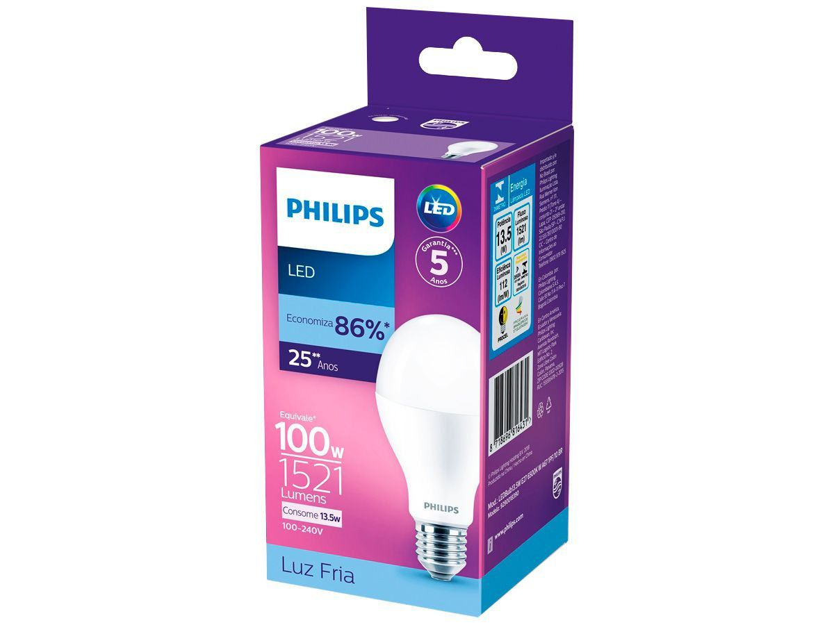 Lâmpada Led Bulbo 13.5w Branca Fria Bivolt Philips