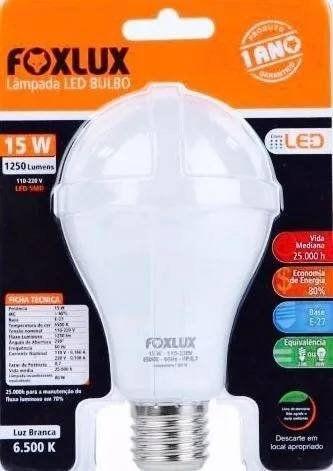 Lâmpada Led Bulbo 15w Luz Branca Fria Foxlux