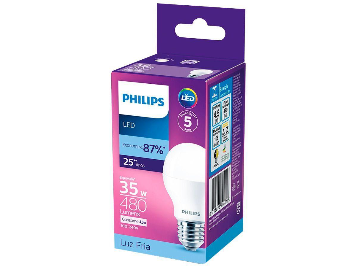 Lâmpada Led Bulbo 4.5w 6500k Branca Fria Bivolt Philips