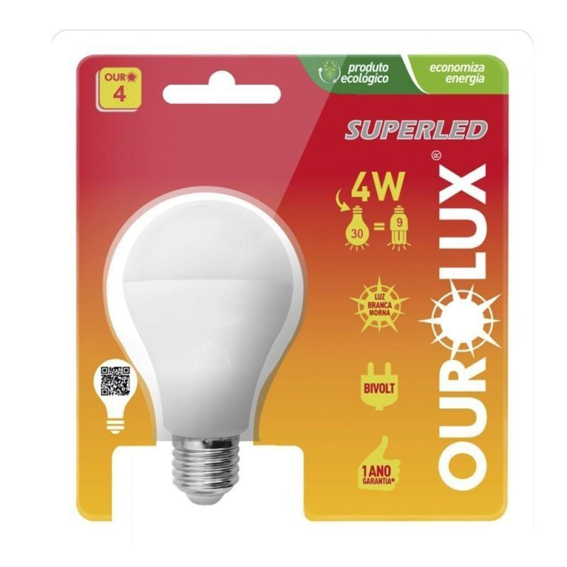 Lâmpada Led Bulbo 4w Luz Morna Ourolux