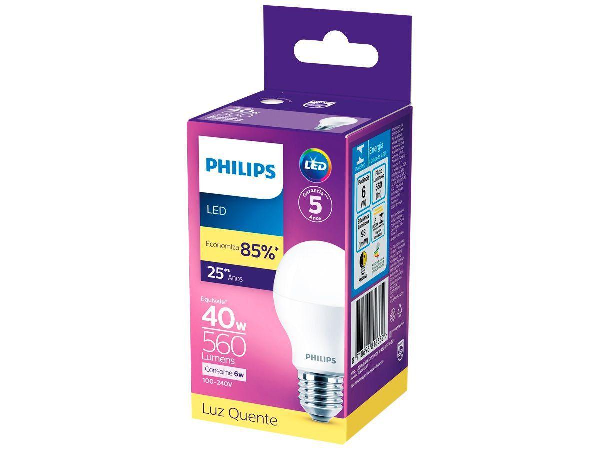 Lâmpada Led Bulbo 6w 3000k Luz Quente Bivolt Philips