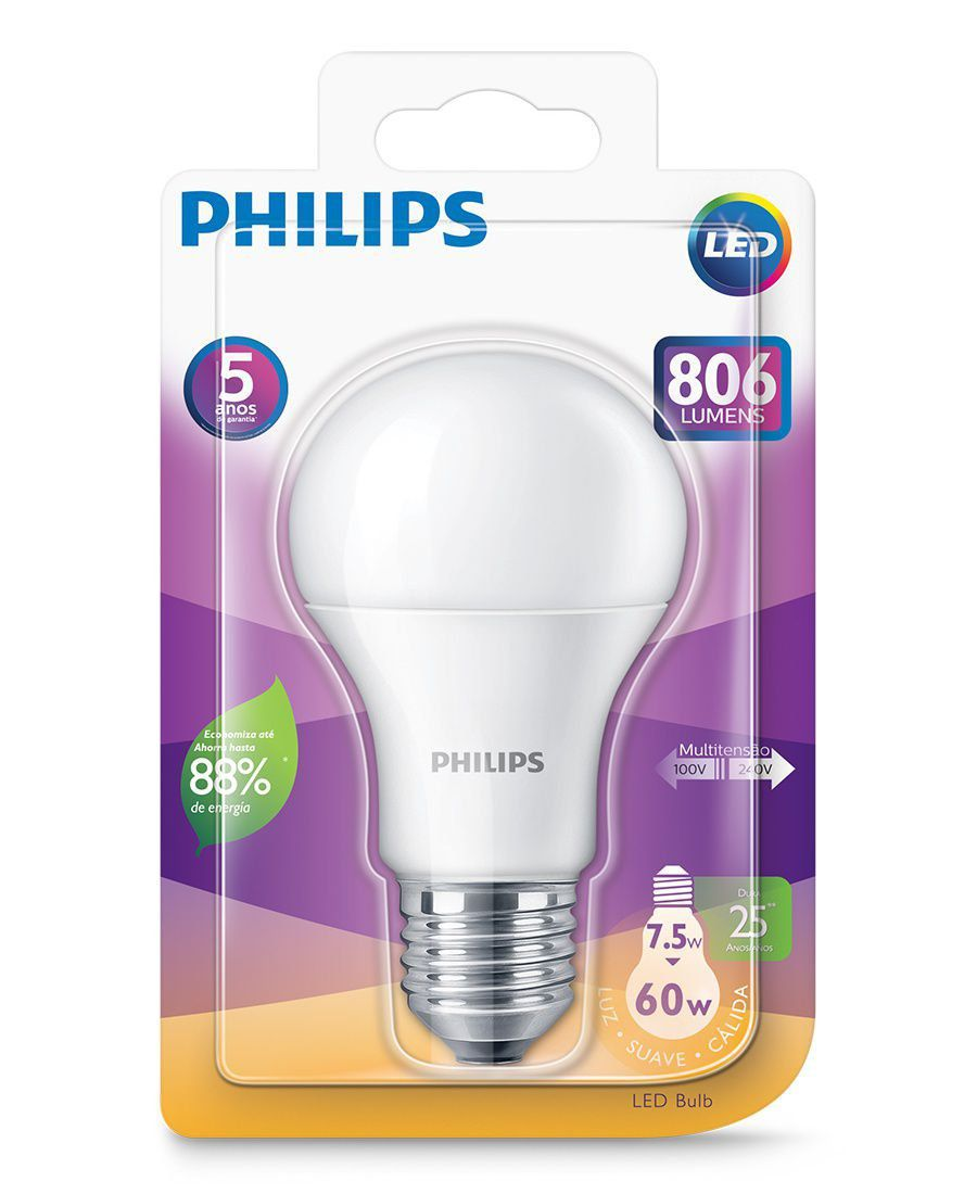 Lâmpada Led Bulbo 7.5w Luz Morna Philips