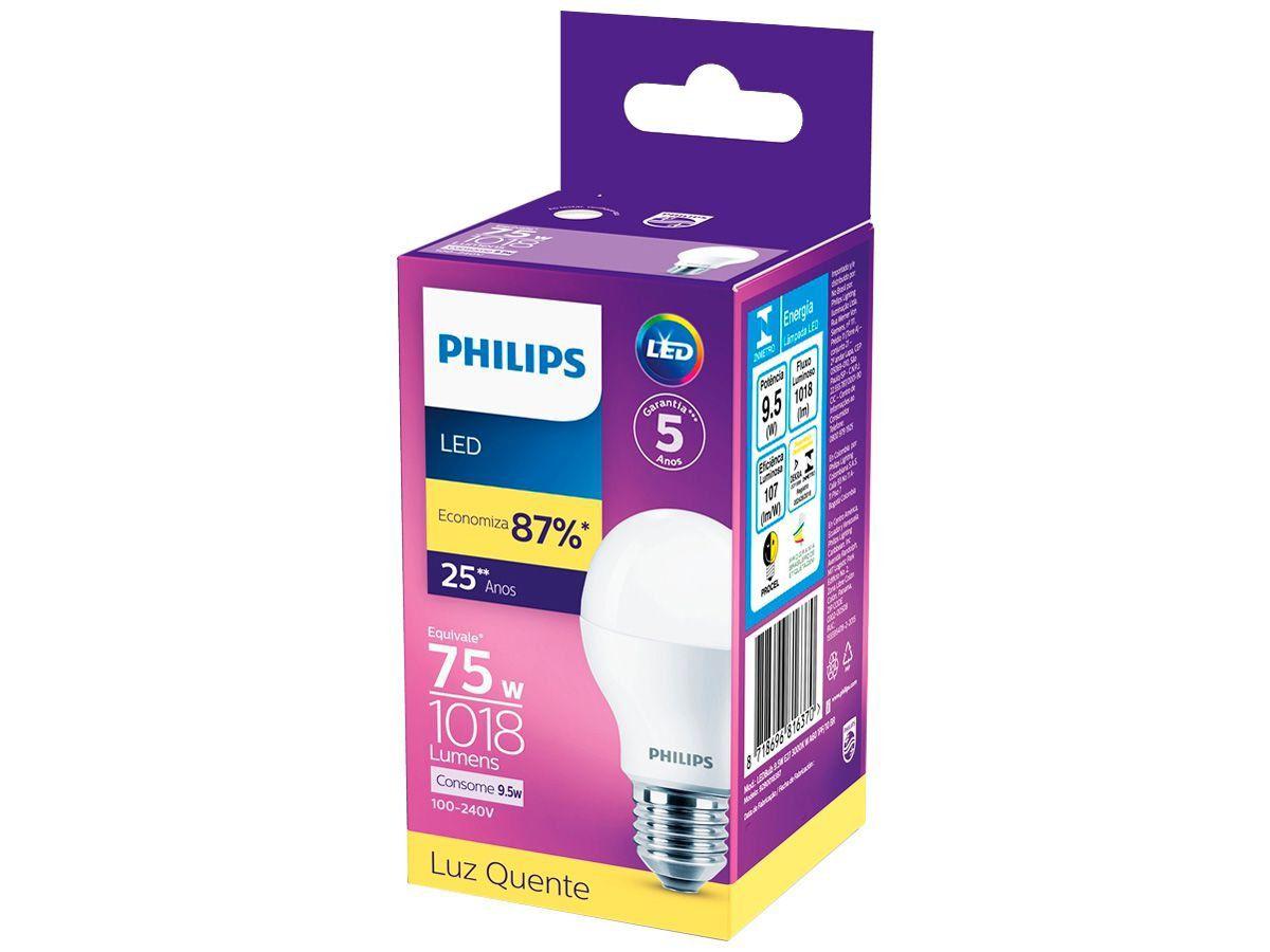 Lâmpada Led Bulbo 9.5w 3000k Luz Quente Bivolt Philips