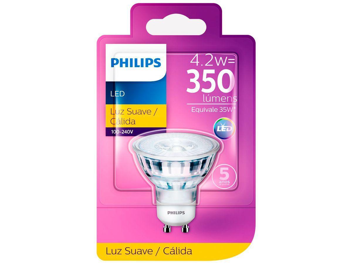 Lâmpada Led Dicroica Gu10 4.2w 350lm Luz Quente Philips