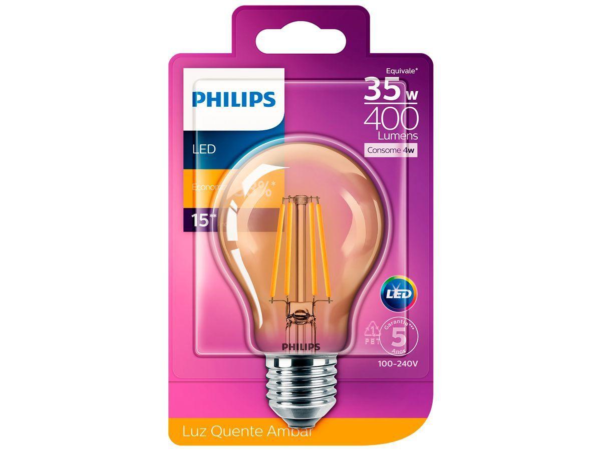 Lâmpada Led Filamento Retro Vintage Quente 4w A60 Philips