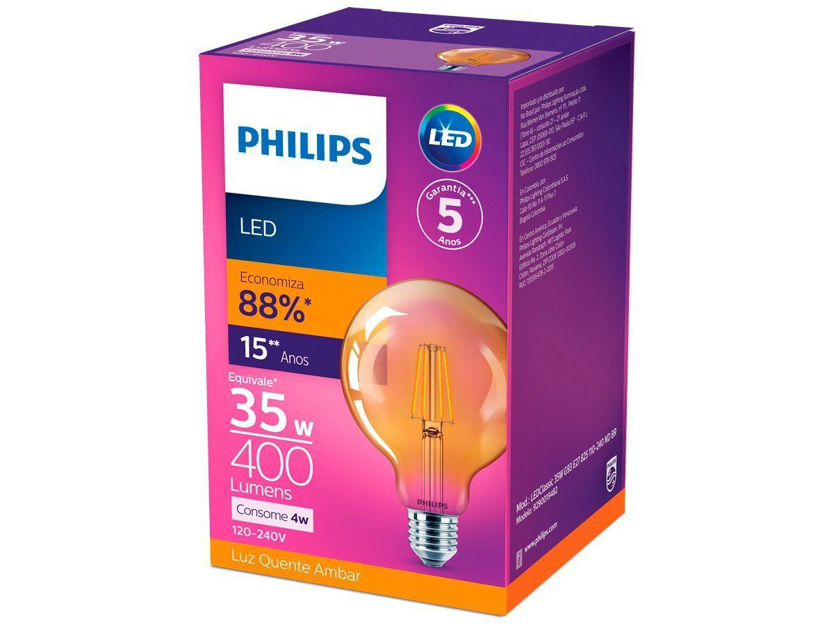 Lâmpada Led Filamento Retro Vintage Quente 4w G93 Philips