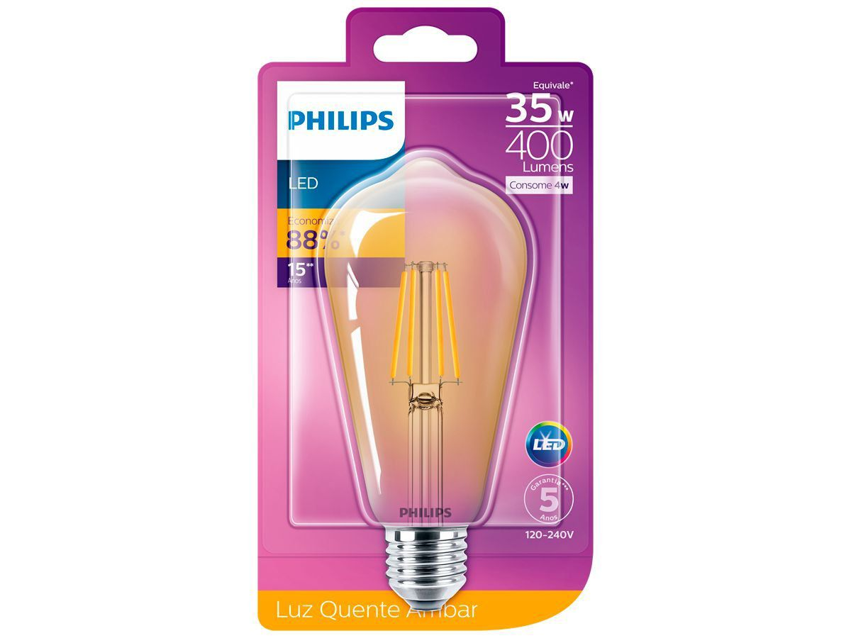 Lâmpada Led Filamento Retro Vintage Quente 4w ST64 Philips