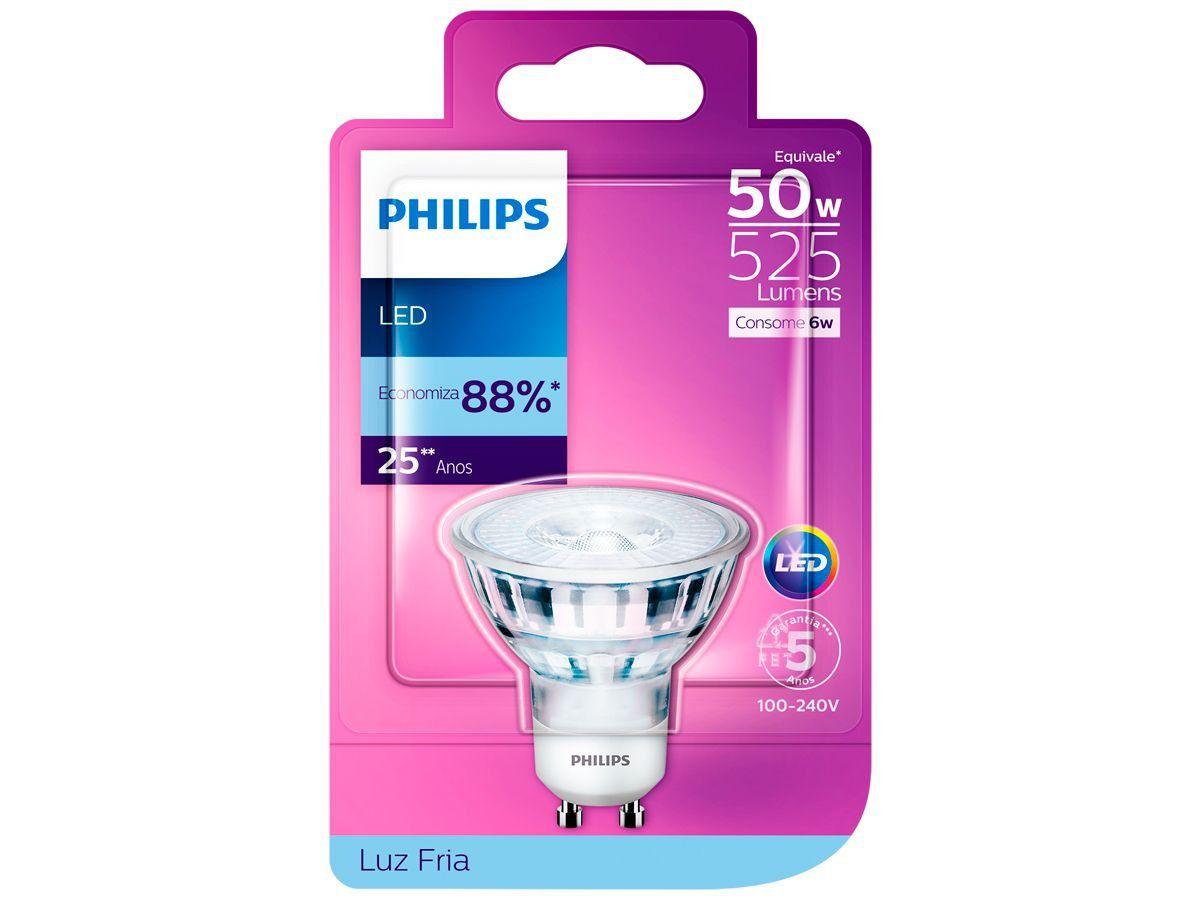 Lâmpada Led GU10 Dicróica 6w Luz Fria 6500k Philips