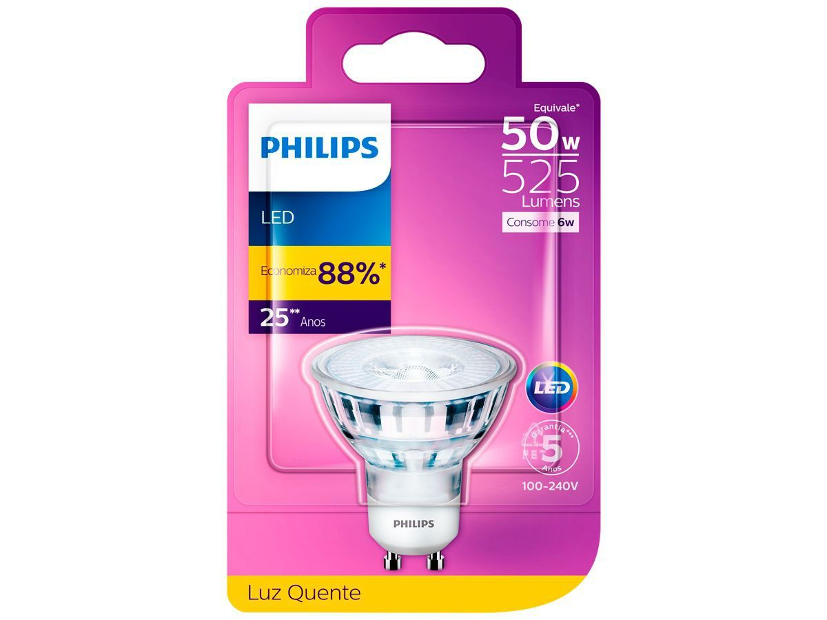 Lâmpada Led GU10 Dicróica 6w Luz Quente 2700k Philips