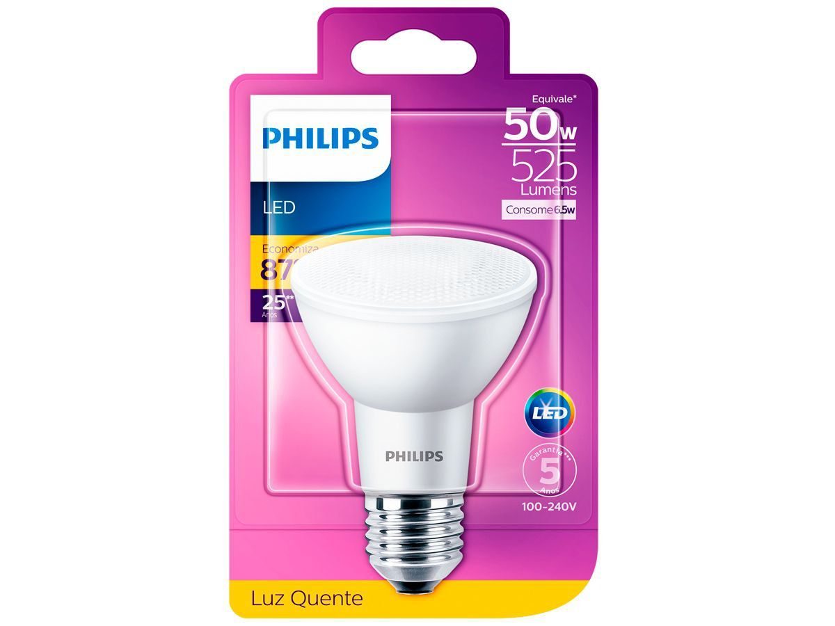 Lâmpada Led Par20 Luz Quente 6.5W Philips