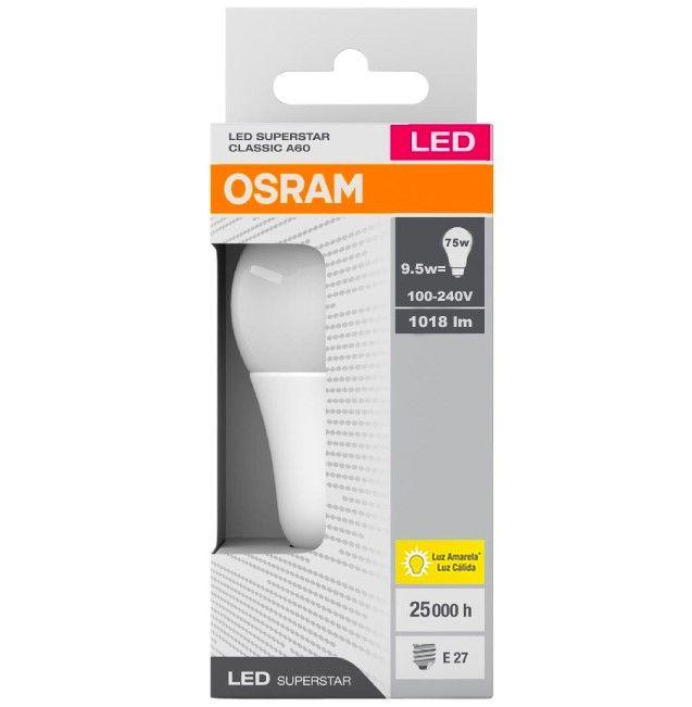 Lâmpada Led Superstar 9,5w 3000k 1018lm Bivolt E27 Luz Cálida ( Amarela ) Osram