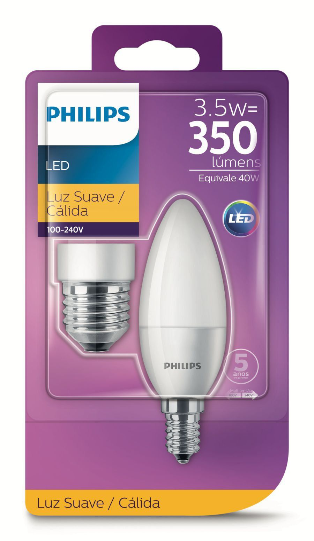 Lâmpada Led Vela 3.5w Morna Com Adaptador E27 Philips