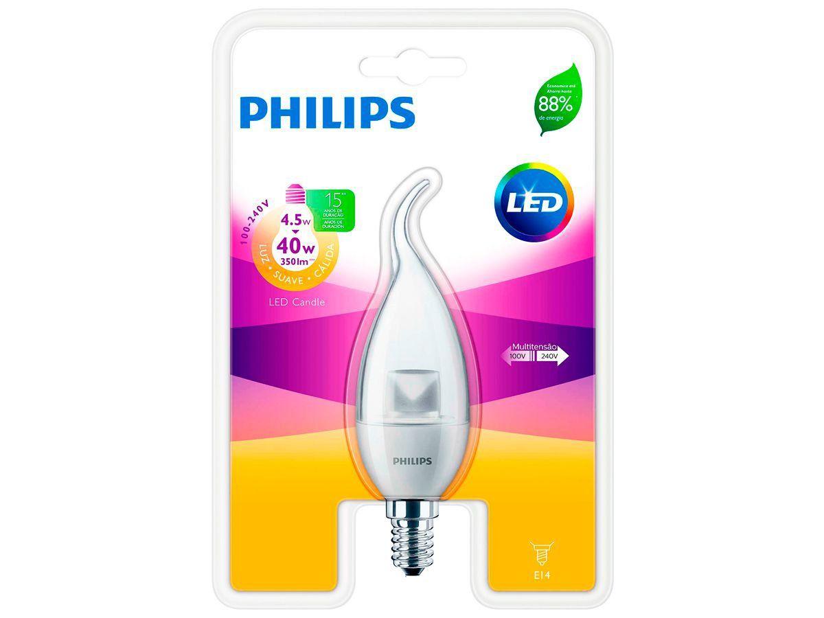 Lâmpada Led Vela E14 4.5W 2700K Ledcandle Philips