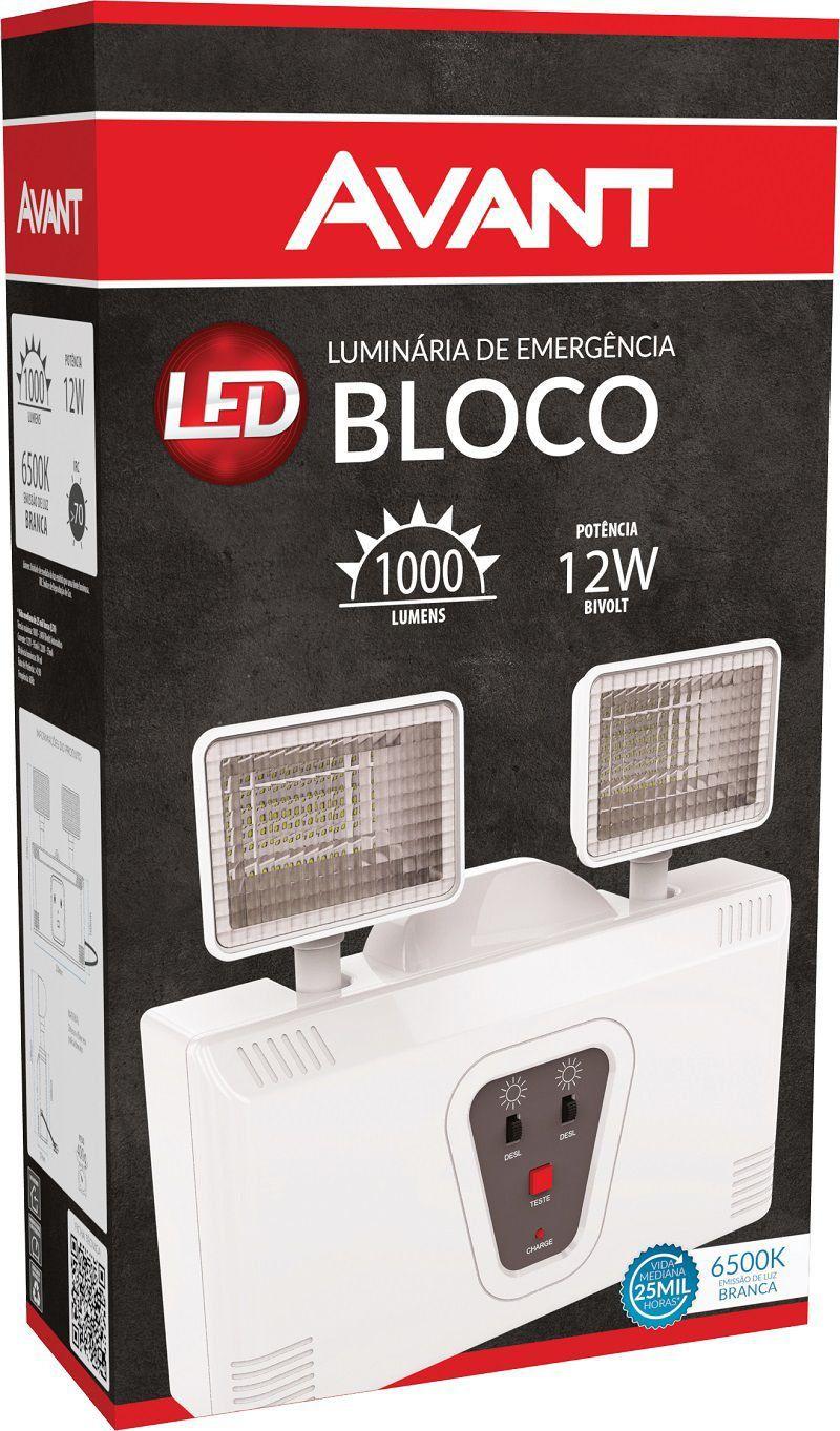 Luminária de Emergência Com 2 Faróis Branca Avant