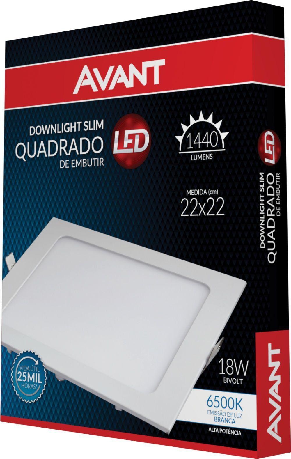 Painel Plafon Led 18W Embutir Quadrado Luminária Slim Avant
