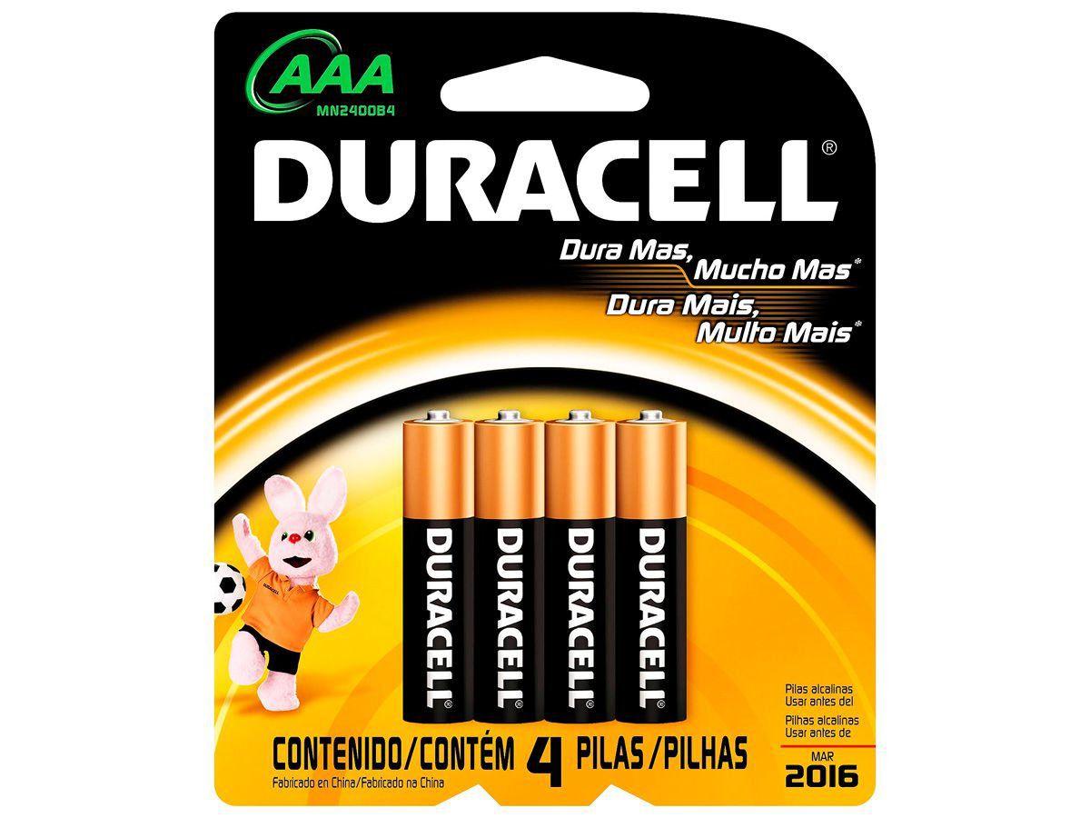 Pilha Alcalina Palito AAA Cartela 4 Unidades Duracell
