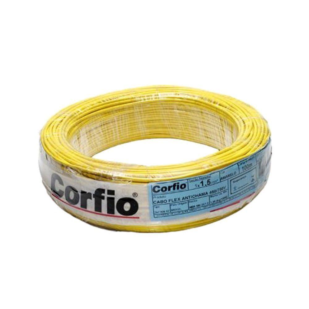 Rolo de Cabo Flexível  1.50mm Amarelo Corfio