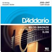 Corda Para Violao 12 Cordas Daddario 010 EJ36 80/20 Bronze