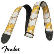 Correia Fender para Guitarra Monograma (marr/amar) Branca