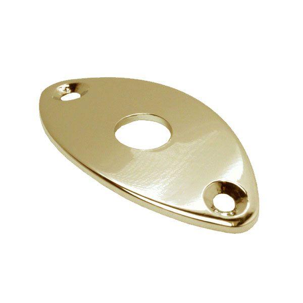 Chapa Metal Para Jack Oval Curva Dourada