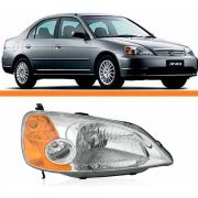 Farol Honda Civic 01 02 03 Foco Simples Pisca Ambar Direito