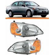 Farol Honda Civic 01 02 03 Foco Simples Pisca Ambar Par